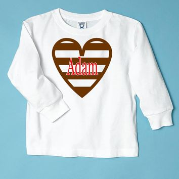 Heart Chocolate Striped Kids Personalized Valentine T-Shirt