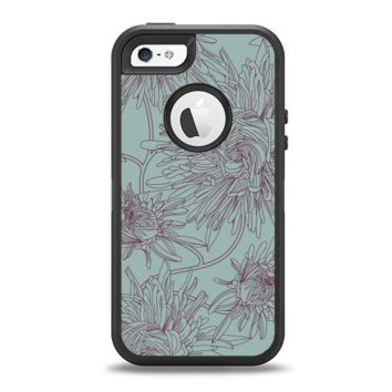 The Teal Aster Flower Lined Apple iPhone 5-5s Otterbox Defender Case Skin Set