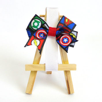 Saving the day with style! super hero Marvel and DC MASH UP hair bow! Handmade with love for your chic geek style! perfect cosplay accessory