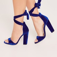 Missguided - Cobalt Blue Croc Pattern Block Heel Sandals