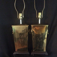Vintage Pair Brass Table Lamps Foo Dog Handles Hand Etched Asian 1940s