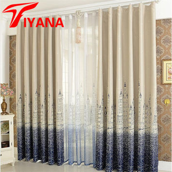 Mediterranean Curtain Finished Blind Sheer Curtain For The Living Room Kids Bedroom Kitchen Castle Design Window Cortina P230Z40