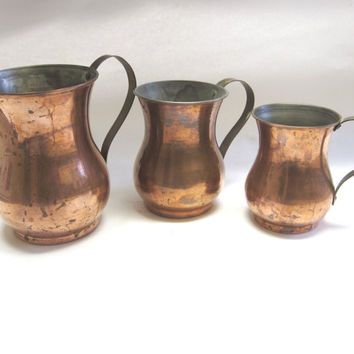 Graduating Copper Cups Brass Handled Tankards Set of 3