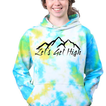 Lets Get High Tumblr Galaxy Trippy Grunge Tie Dye Sweatshirt Hoodie Jumper