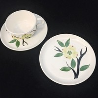 Stetson China Company, Dixie Dogwood Pattern, Bread and Butter Plate/Dessert Plate, Mid-Century, 1950's, Handpainted, Made In USA