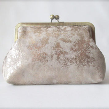 Silver Kiss Lock Clutch, Metallic Silver Leather Clutch, Silver Evening Clutch, Bridesmaid Clutch, Retro Style Clutch,
