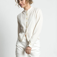 Vintage 90s Ivory White Menswear Collarless Tuxedo Blouse | S