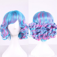 35cm Fashion Colorful Ladies Synthetic Wig Women Tilted Frisette Short Hair Cosplay Wigs For Women Girl HB88