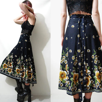 70s Vintage SKIRT Climbing Floral FOLK Hippie Boho Bohemian Gypsy Peasant WRAP Around Flare Long / Mid Length Black vtg 1970s xs s