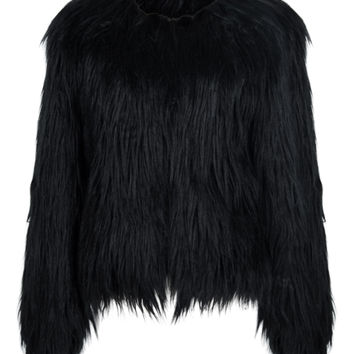 Black Collarless Faux Fur Coat
