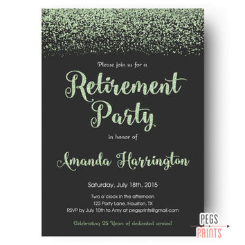 Mint Glitter Retirement Party Invitation - Retirement Party Invites - Farewell Party Invitation - PRINTABLE Farewell Invitation