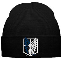 attack on titan beanie hat, survey corps, shingeki no kyojin, survey, corps, emblem, lable, logo, anime, manga
