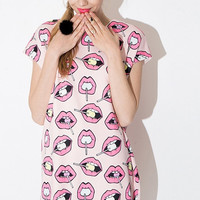 Pink Candy Lips Bat Sleeve Dress