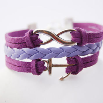 3 Strand Purple Lavender Infinity Anchor Faux Leather Braid Cord Bracelet (Adjustable Sizing)