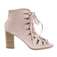 Hewitt By Soda, Peep Toe Caged Corset Lace Up Stacked Block Heels Sandal, Ankle Bootie