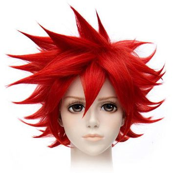 30cm Short Red Contra Warping Short Hair Cosplay Wig costume
