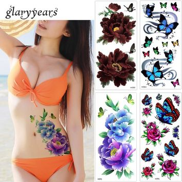 1 Sheet Rose Flower Body Makeup Temporary Tattoo Colored Drawing Butterfly Bracelet Chain Back Leg Art Tattoo Sticker