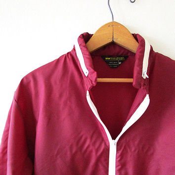 Vintage 70's Retro Maroon PACKABLE Lightweight WINDBREAKER Hooded Nylon Rain Jacket Sz Medium