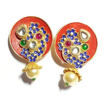 Round gold plated stud with pearl dropping earring 59511a958