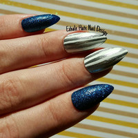 Silver and Blue Glitter Winter Christmas Holiday Fake Press on Nais - Stiletto, Oval, Square, Coffin/Ballerina