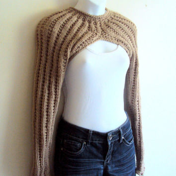 Hand Knit Long Sleeve Beige Bolero Sweater Shrug Women Clothing Fashion Accessories Gift Ideas  MADE TO ORDER