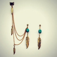 turquoise and feather gold ear cuff and earrings