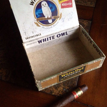 Vintage white owl cigar box