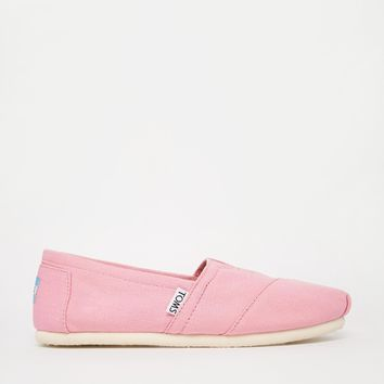 TOMS Pink Canvas Slip On Shoes