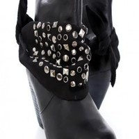 Black Faux Leather Studded Bandanna Tie Cuff Bootie Boots @ Amiclubwear Boots Catalog:women's winter boots,leather thigh high boots,black platform knee high boots,over the knee boots,Go Go boots,cowgirl boots,gladiator boots,womens dress boots,skirt boots