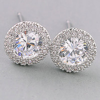 Round Diamond Studded Earrings.