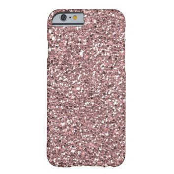 Luxe Pink Glitter Texture Barely There iPhone 6 Case