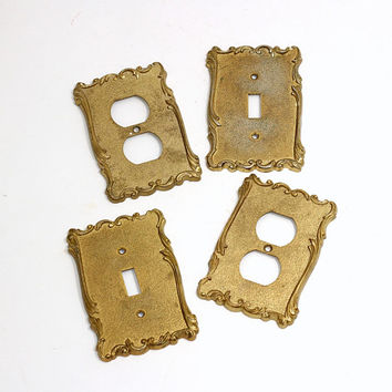 Vintage Outlet Covers (2) , Switch Plates (2) | Plug Covers | Swirl Edges Romantic Shabby Chic Gold Brass | Made in Italy | Set of 4