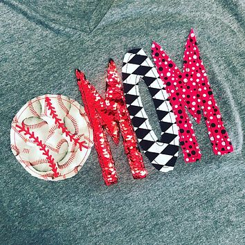 BASEBALL MOM SHIRT - CUSTOMIZED WITH TEAM COLORS