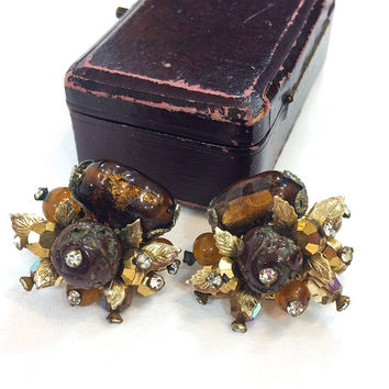 Vendome Cluster Earrings, Molded Art Glass Roses, Root Beer Amber Crystals, Goldtone Beads Leaves, Clip On, 1950s Vintage Statement Jewelry