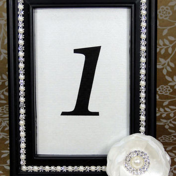 Custom Brooch Rhinestone and Pearl Photo Picture Frame 4X6 Black with Ivory Flower Wedding Frame, Table Number, Cards, Guest Book