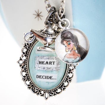 Aladdin Women's Charm Necklace - Princess Jasmine - A Whole New World - Let your heart decide - Mixed Media, Altered Art, Art Nouveau
