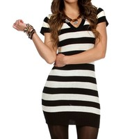 Black/White V Neck Stripe Sweater Tunic