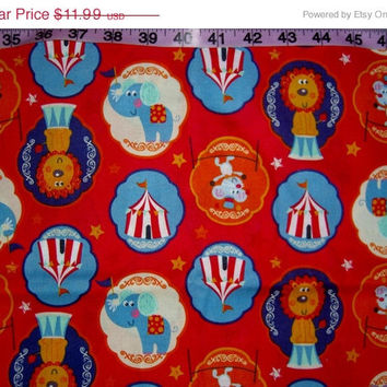 Circus Fabric elephant lion bigtop kids baby toddler cotton quilt print quilting sewing material to sew by the yard 1yd HTF craft project