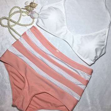 Red with White Striped High Waist Bikini Set
