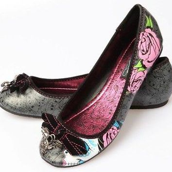 Iron Fist Sugar Witch Skull Women's Vegan Black Ballet Flats Shoes - US Size
