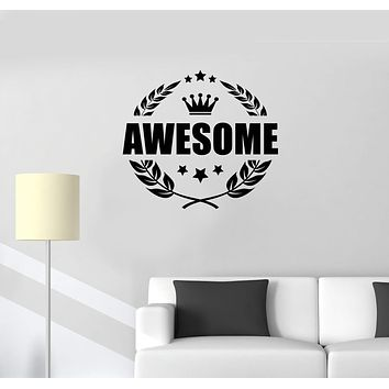 Vinyl Wall Decal Awesome Crown Word Lettering Man Cave Room Art Stickers Mural (ig5672)