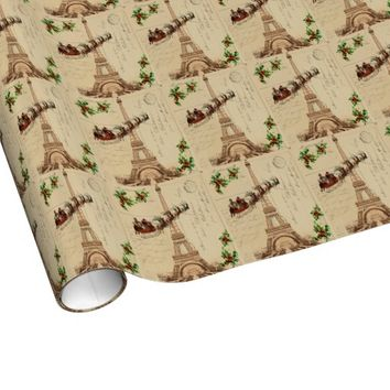 Vintage Santa Paris Christmas Wrapping Paper