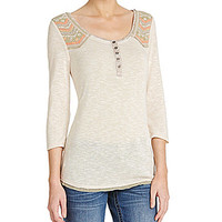Miss Me Contrast-Yoke Henley Top - Cream