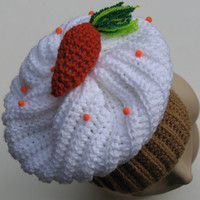 Carrot Cake Cupcake Hat, Crocheted with High Quality Yarn, Perfect for Halloween, Fall, Christmas, Unique, Ready to Ship