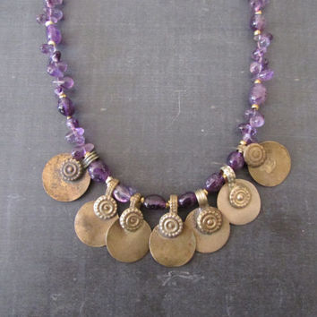 Amethyst Ethnic Necklace, Afghan Vintage, Beaded Boho Chic Jewelry