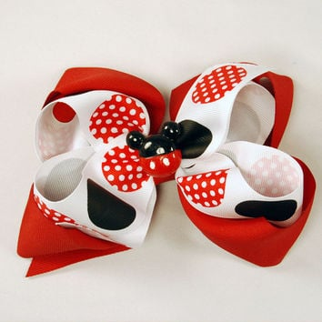Mickey Mouse Boutique Hair Bow Stack Bow Layered Bow Red black and white Polka Dot