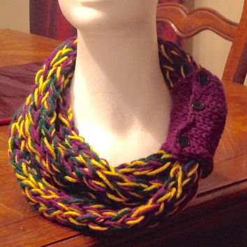 Purple Gold And Green Finger Knit Infinity Eternity Mardi Gras Fat Tuesday Carnival Scarf