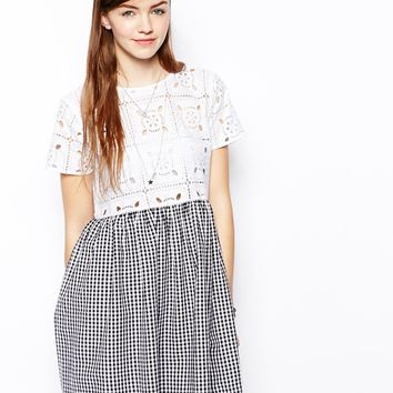 ASOS Dress In Gingham And Lace