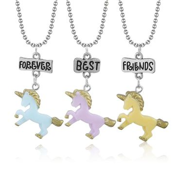 Popular Children Jewelry Colors Resin Unicorn Animal Horse Pendants Necklace Female Best Friends Forever Girls Necklace For Kids