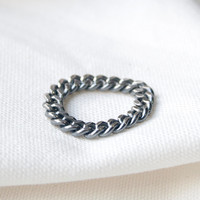 Vintage small chain ring, 92.5 Sterling silver 3mm chain Ring, Antique chain ring